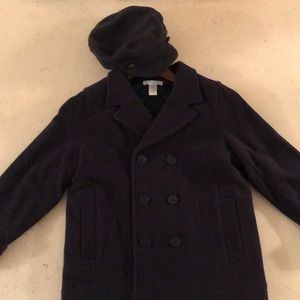 Janie and Jack navy jacket with pageboy hat